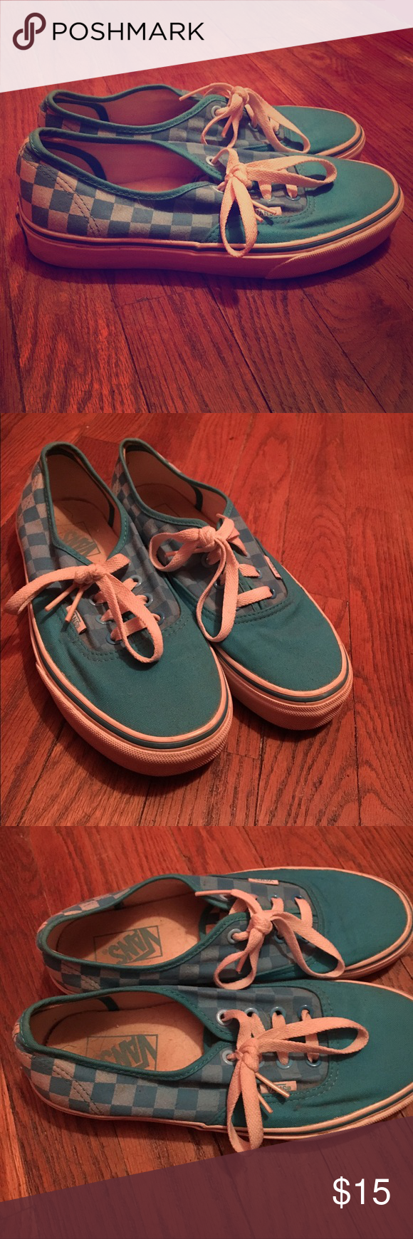 Blue and White Checkered Vans Normal signs of wear,but in good condition.Size is 7.5 for women,6 for men. Vans Shoes Sneakers