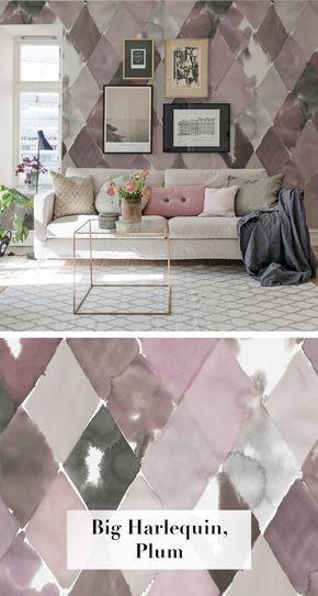 Big Harlequin, Plum Pinterest - moderne wandgestaltung wohnzimmer lila