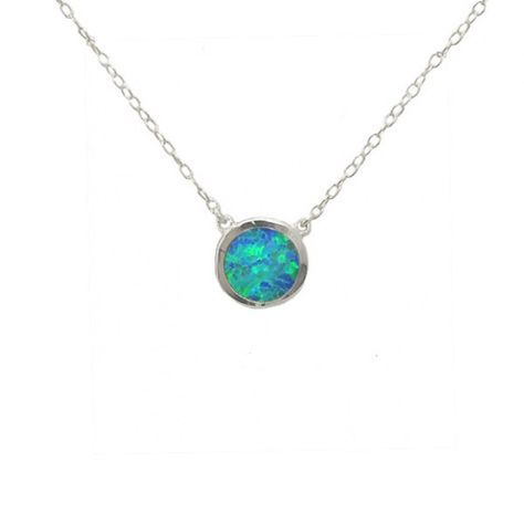 Sterling Silver Simulated Blue Opal Graduated Necklace u2p38Wm
