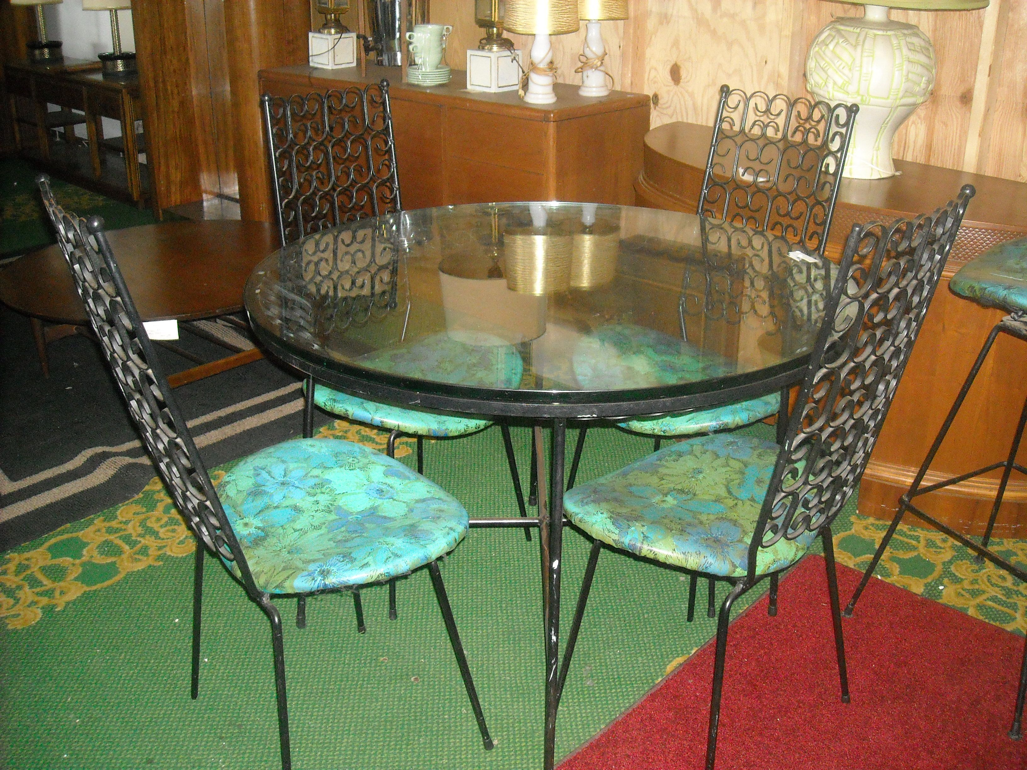 1960 S Indoor Outdoor Designer Wrought Iron Table And High Back