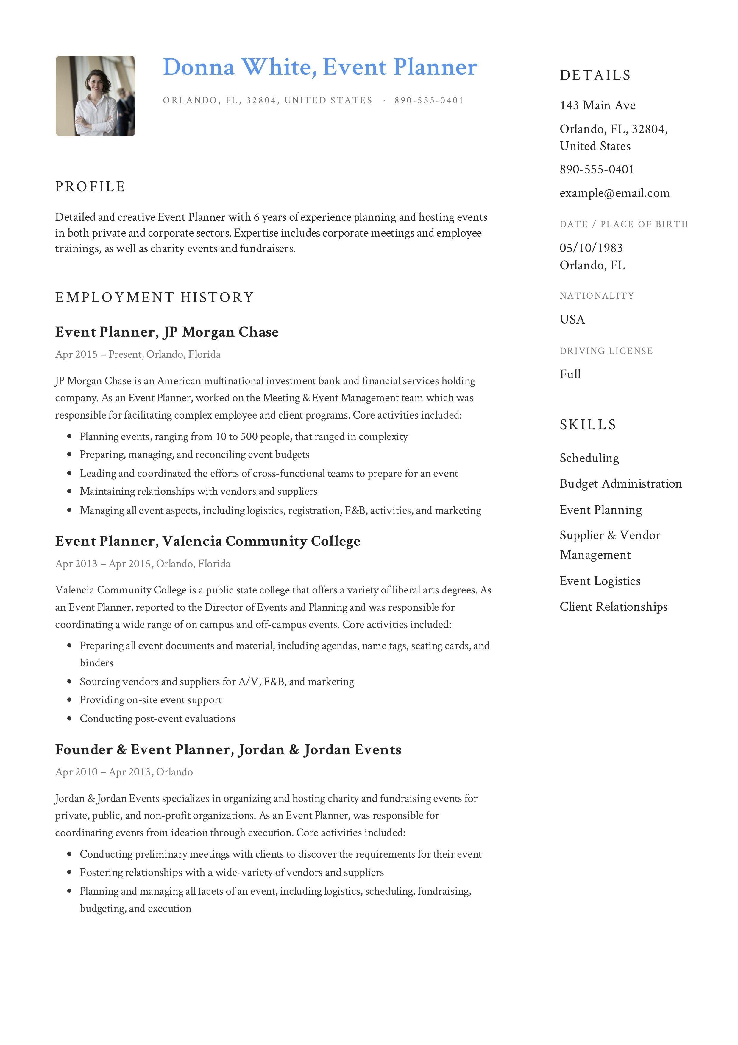 Event Planner Resume Event Planner Resume Event Planner Planner