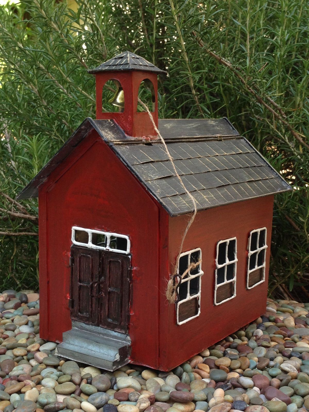 Miniature Dollhouse FAIRY GARDEN ~ Tin Red School House ~ NEW