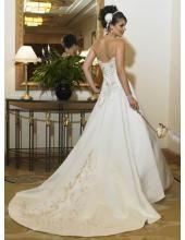 Querida Vintage bordado uma linha de vestido de noiva de cetim