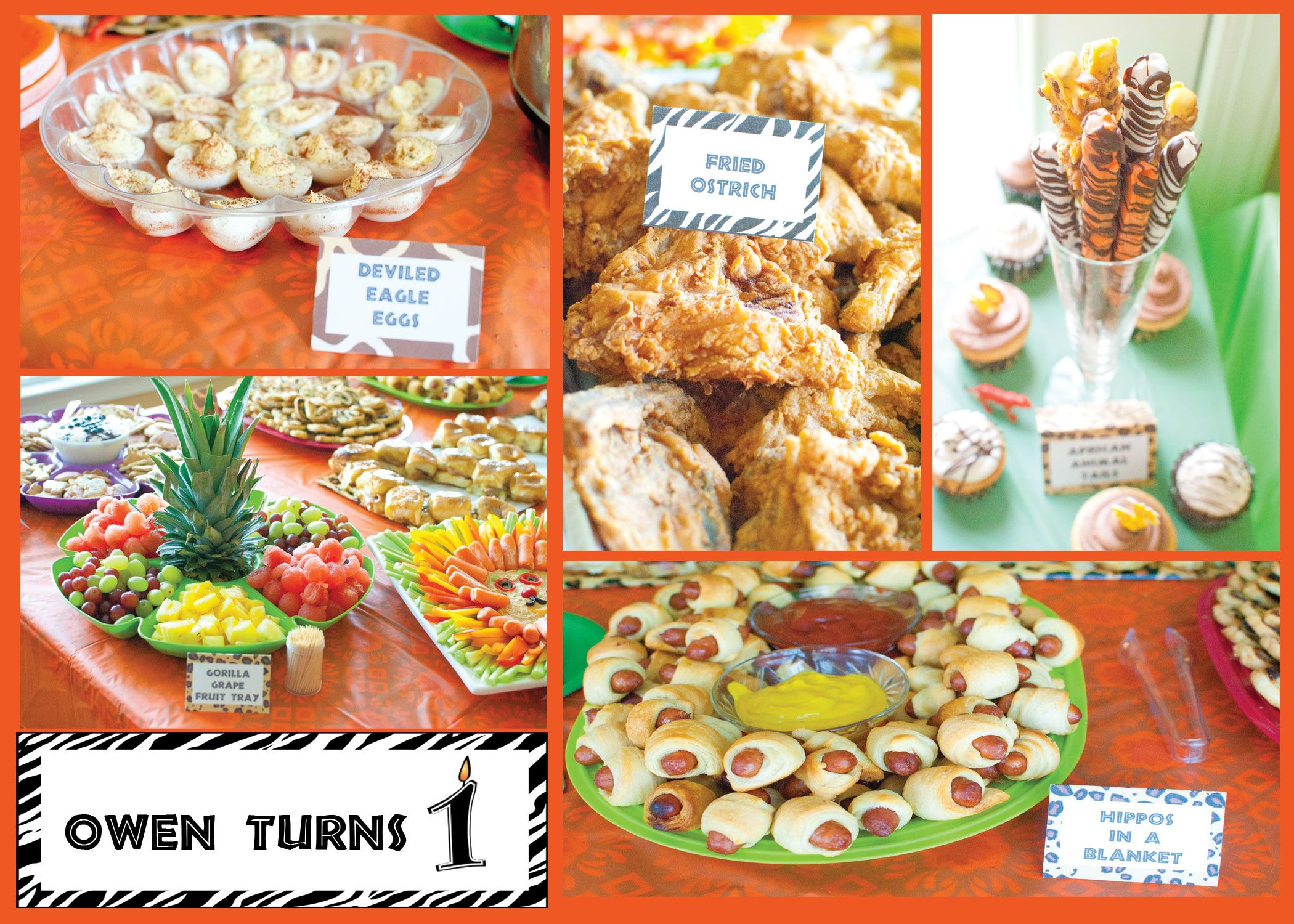 Owen S First Birthday Safari Party Slim Pickin S Kitchen Birthday Party Menu Safari Party Foods Safari Party
