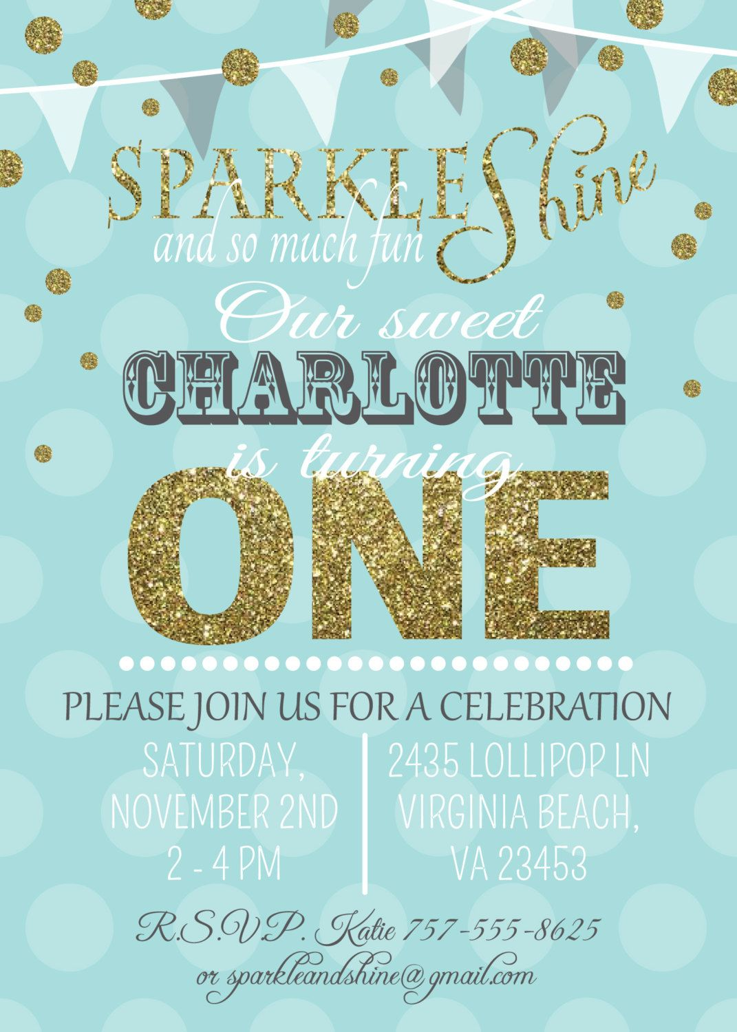 Babys first birthday invitation aqua and gold sparkle and shine babys first birthday invitation aqua and gold sparkle and shine printable by graceandglee on etsy filmwisefo
