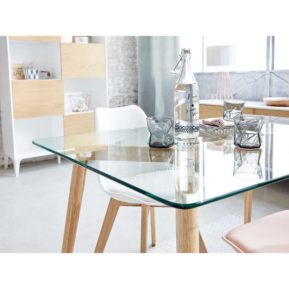 Tavolo per sala da pranzo in vetro e quercia L.120cm   Sala da ...