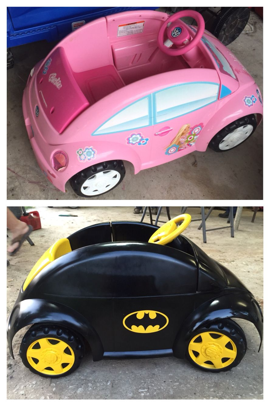 From Barbie car to Zac mobile! A little paint and some Batman decals!