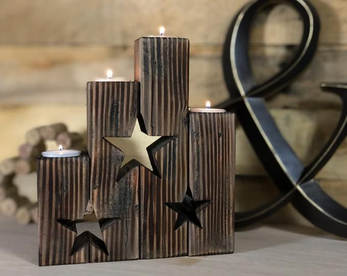 Christmas Tree Advent Candle Holder - Rustic Candle Holder | Farmhouse Antique Mantle Decor | Rustic Christmas Tea Light Holders #rustikaleweihnachten