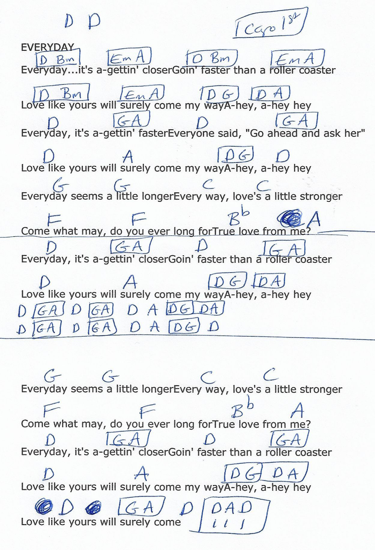 Everyday Buddy Holly Guitar Chord Chart in D Capo 1st
