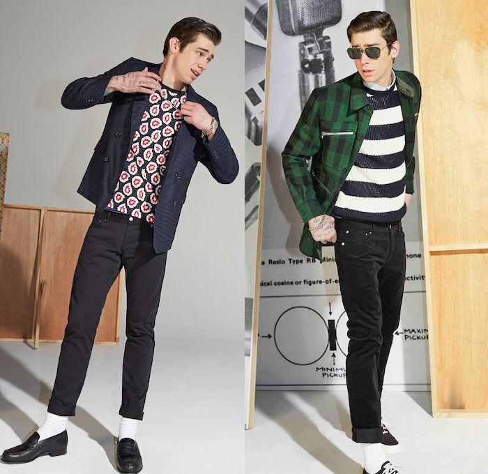 95e0026f877a7 Maison Kitsuné 2014-2015 Fall Winter Mens Lookbook Collection - Denim Jeans Rock  Roll 1950s Mod Jacket Roll Up White Socks Stripes Bomber Checks Fox Paisley  ...