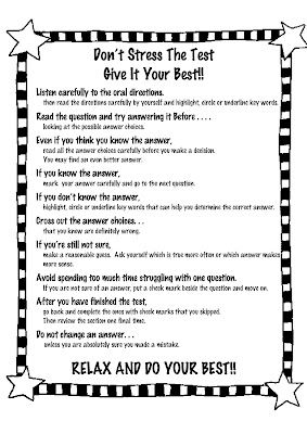 Don't Stress the Test  Give It Your Best!!