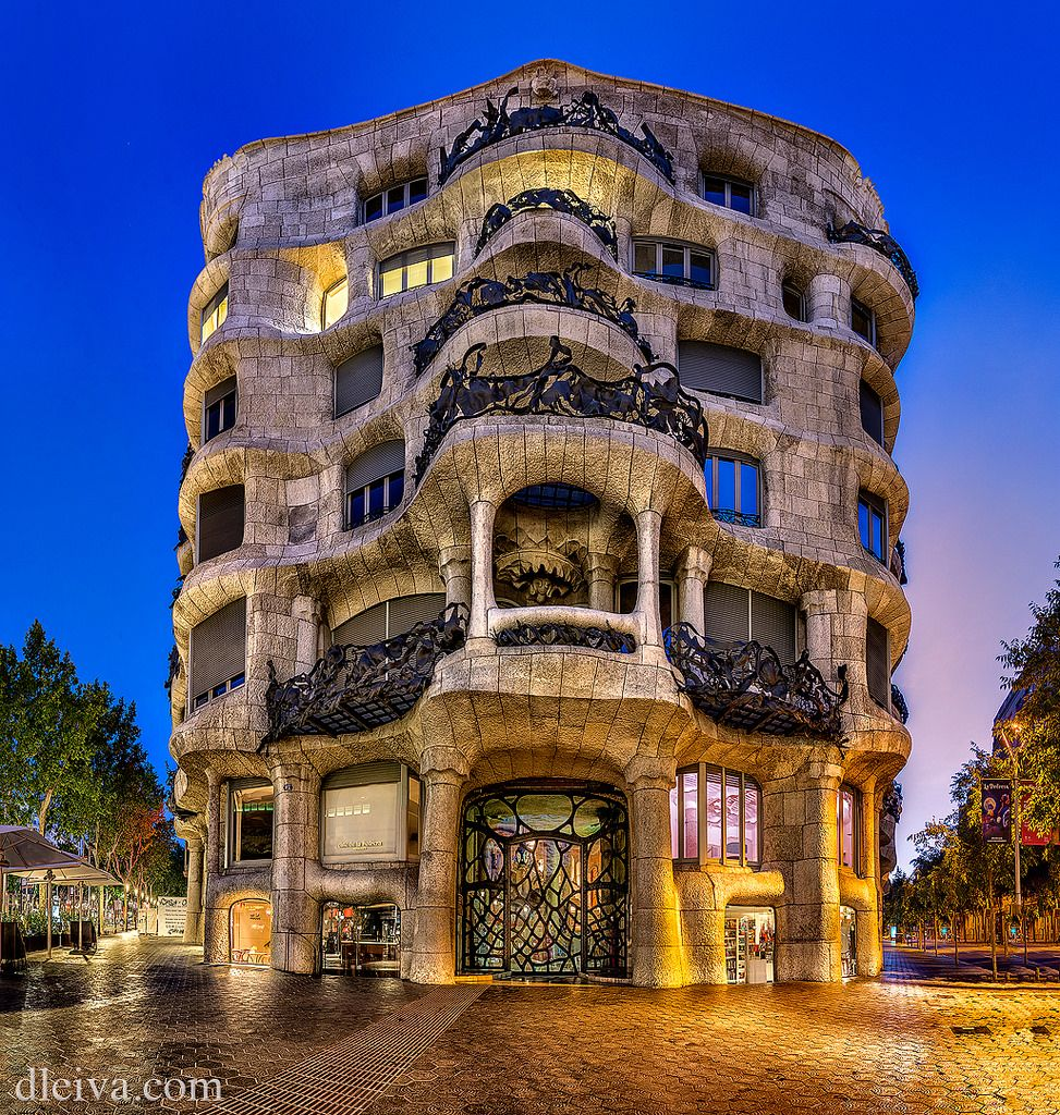 La Pedrera This is one of Gaudí's main residential buildings and one of the most imaginative houses in the history of architecture. This building is more sculpture than a building. The façade is a varied and harmonious mass of undulating stone that, along with its forged iron balconies, explores the irregularities of the natural world. UNESCO recognized this building as World Heritage in 1984.