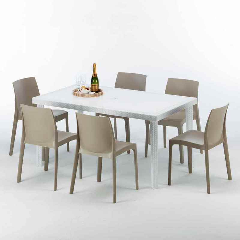 Tavolo Da Giardino Grand Soleil.Table Rectangulaire Blanche 150x90cm Avec 6 Chaises Colorees Grand