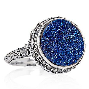 Sajen Silver By Marianna And Richard Jacobs Ornate Cobalt Blue Drusy Quartz Sterling Ring At