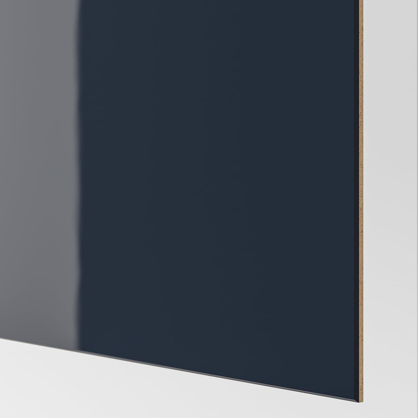 Hokksund 4 Paneele F Schiebeturrahmen Hochglanz Dunkelblau Schwarzblau Kleiderschranksystem Hochglanz Und Pax System