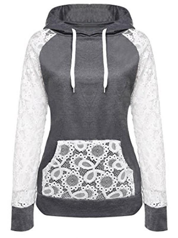 Laceshe Women's Drawstring Sweatshirt Lace Hoodie 2