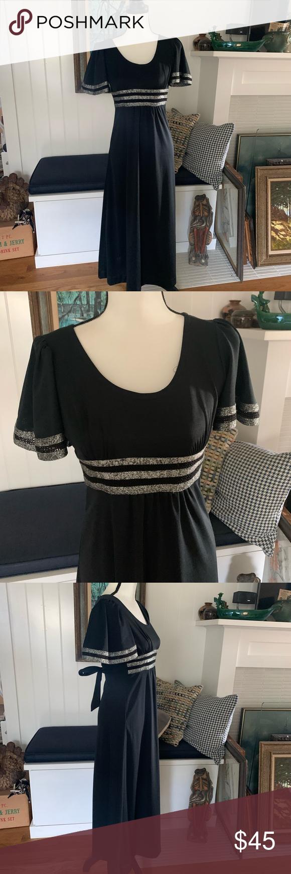 Vintage Black Allegro New York Dress York Dress Polyester Dress Vintage Black [ 1740 x 580 Pixel ]