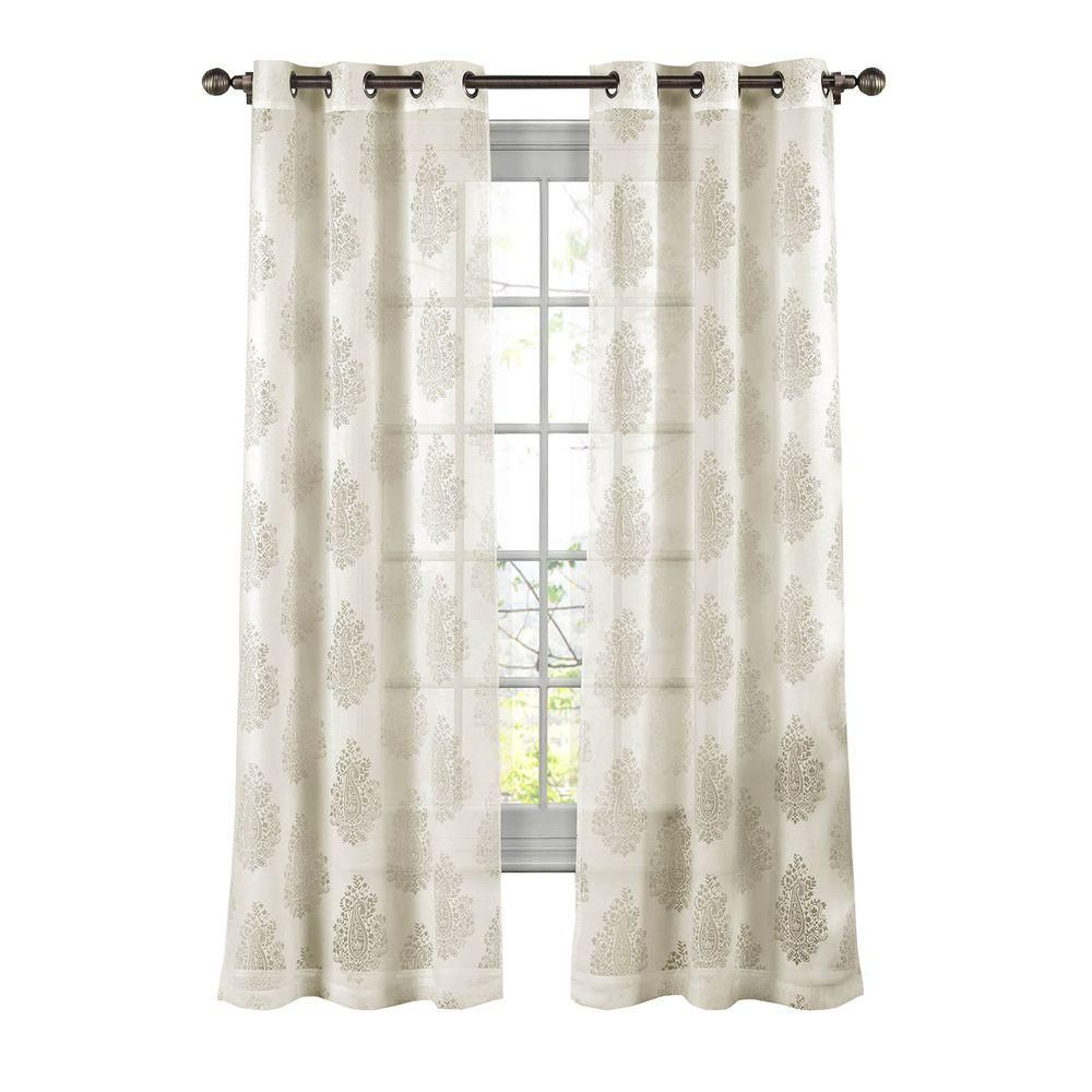 Window Elements Penelope Cotton Blend Burnout Sheer 84 in. L Grommet Curtain Panel Pair, Ivory (Set of 2)