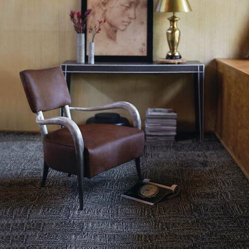 Bernhardt Interiors | Hair On Hide Elka Chair, Leather Wrapped Colter Table