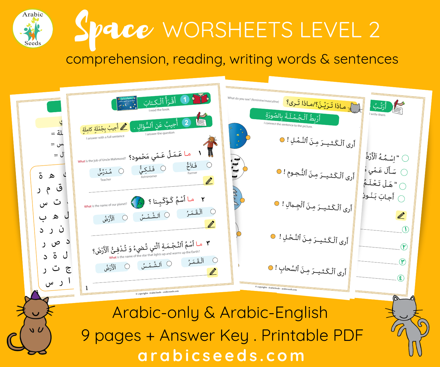 Space Arabic Story Worksheets