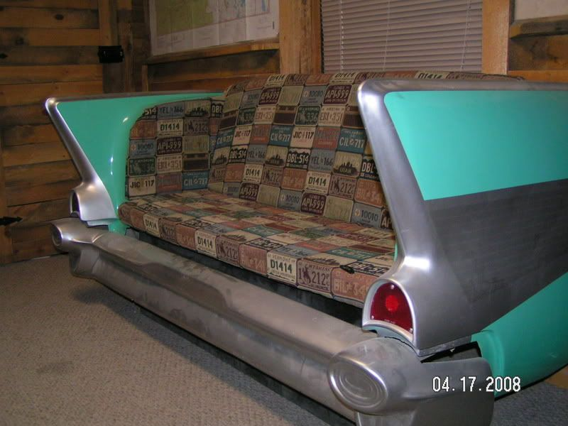 57 Chevy couch w/license plate pattern cushions. | Car ...