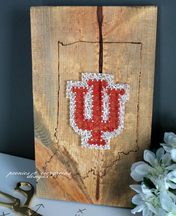 University of Indiana IU Wood String Art by PeoniesandEvergreens
