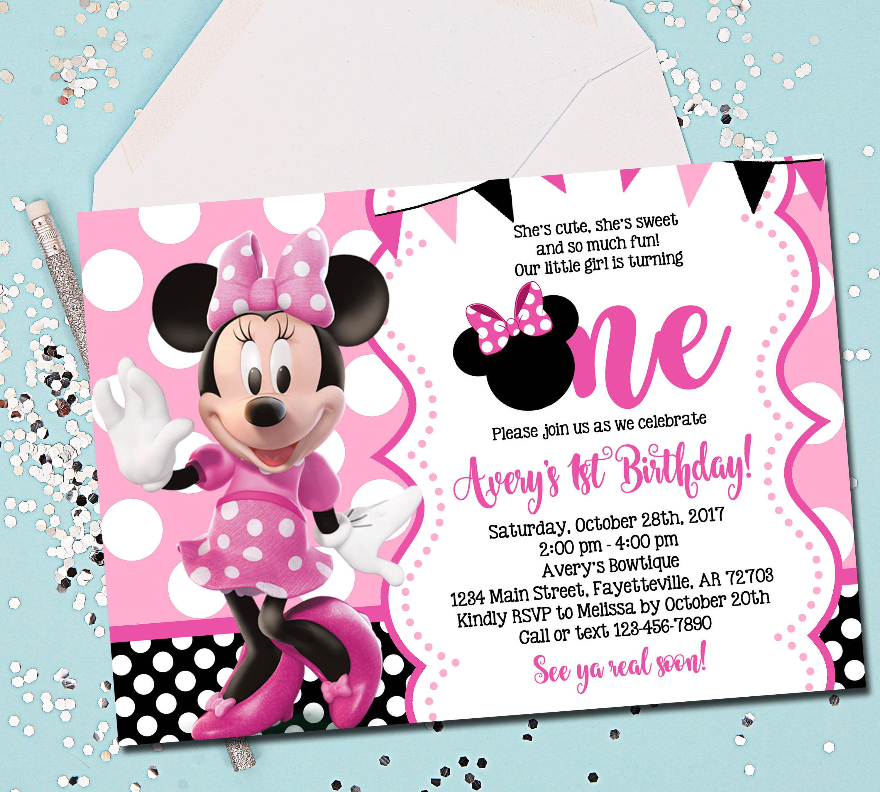 MINNIE MOUSE INVITATION, Minnie Mouse Birthday Invitation, 1st ...