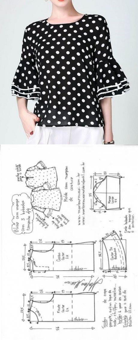 Blusa com manga 3 babados | DIY - molde, corte e costura - Marlene ...