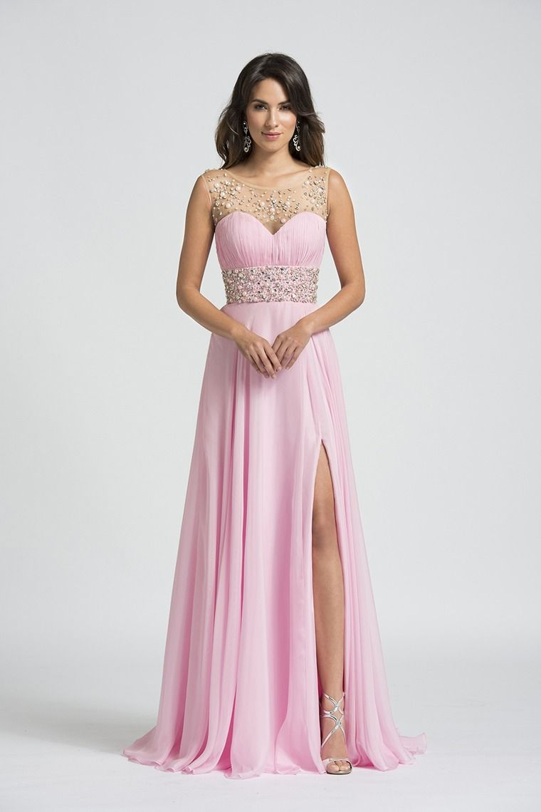 scoop neckline beaded prom dress tulleuchiffon with slit sweep