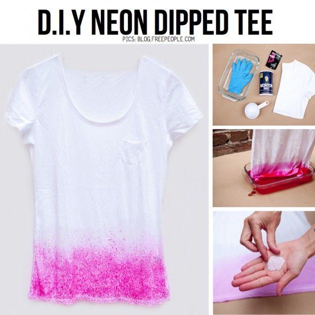 Diy Neon Dipped T Shirt