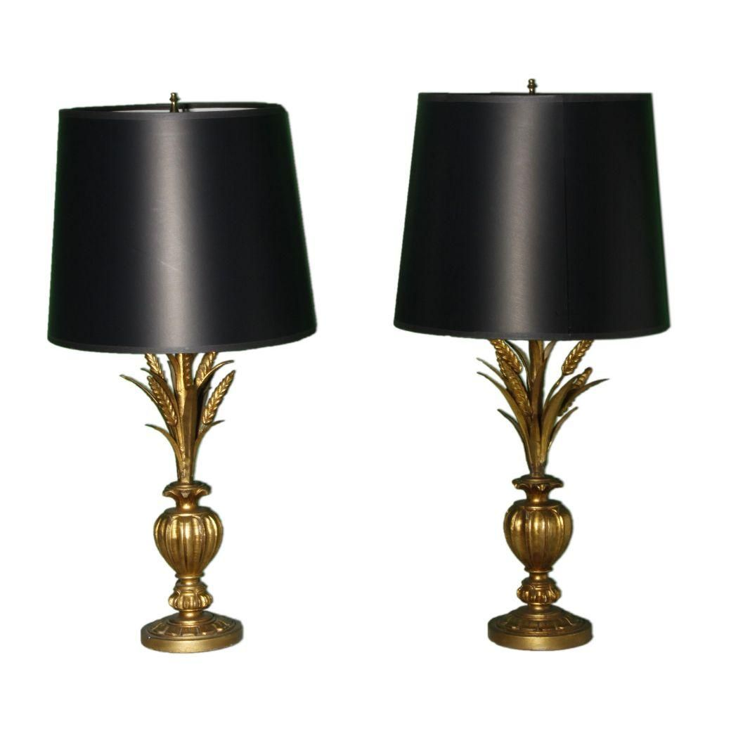 An Elegant Pair Of Vintage Wheat Sheaf Lamps With New High End Black Shades Perfect For Your Hollywood Regency Decor Lamp Table Lamp Hollywood Regency Decor