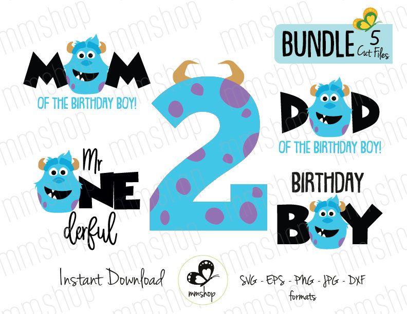 Sulley Two Birthday Bundle Monster Inc Instant Download Svg Files De Mmshopstudio En Et Monster Inc Birthday Monsters Inc Boys First Birthday Party Ideas