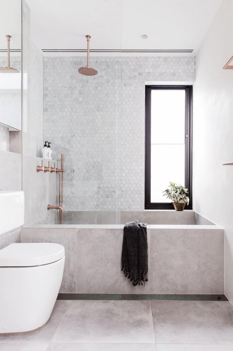 5 Classic Bathroom Colour Palettes Concrete Bathtub Bathroom