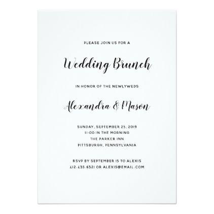 Modern Script Minimalist Wedding Brunch Card - script gifts - wedding announcement template