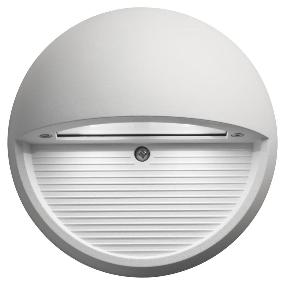 Lithonia Lighting White Integrated Led Round Step And Stair Deck Light Olsr Wh M6 The Home Depot In 2020 Step Lighting Lithonia Lighting Deck Lighting