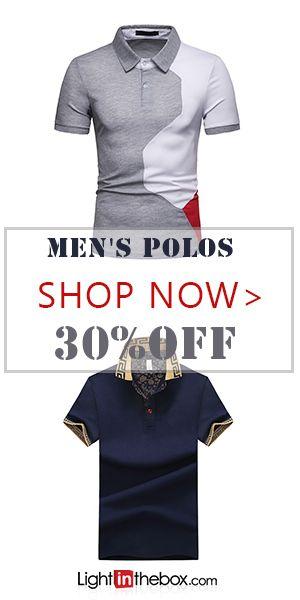 Men's Plus Size Cotton Polo - Solid Colored Print Shirt Collar White