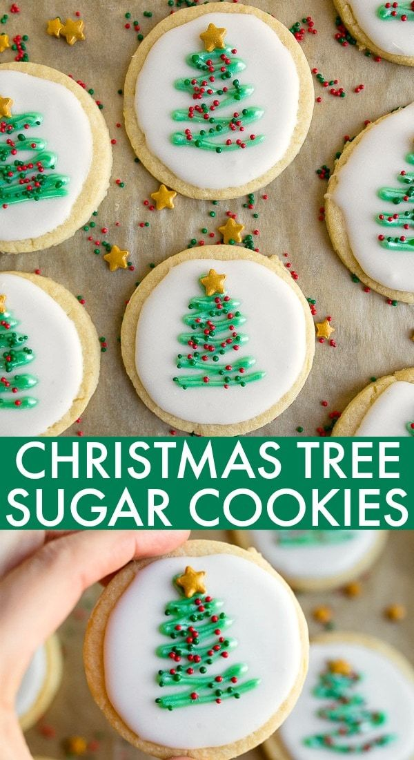 Christmas Sugar Cookies that don't require any chill time! The easiest Christmas tree cookie design. No chill cut out sugar cookies. #christmas #christmascookie #christmassugarcookies #christmastreecookies #nochill #nochillcookies #cutoutcookies #holidaycookies #easycookies #easysugarcookies #christmastree