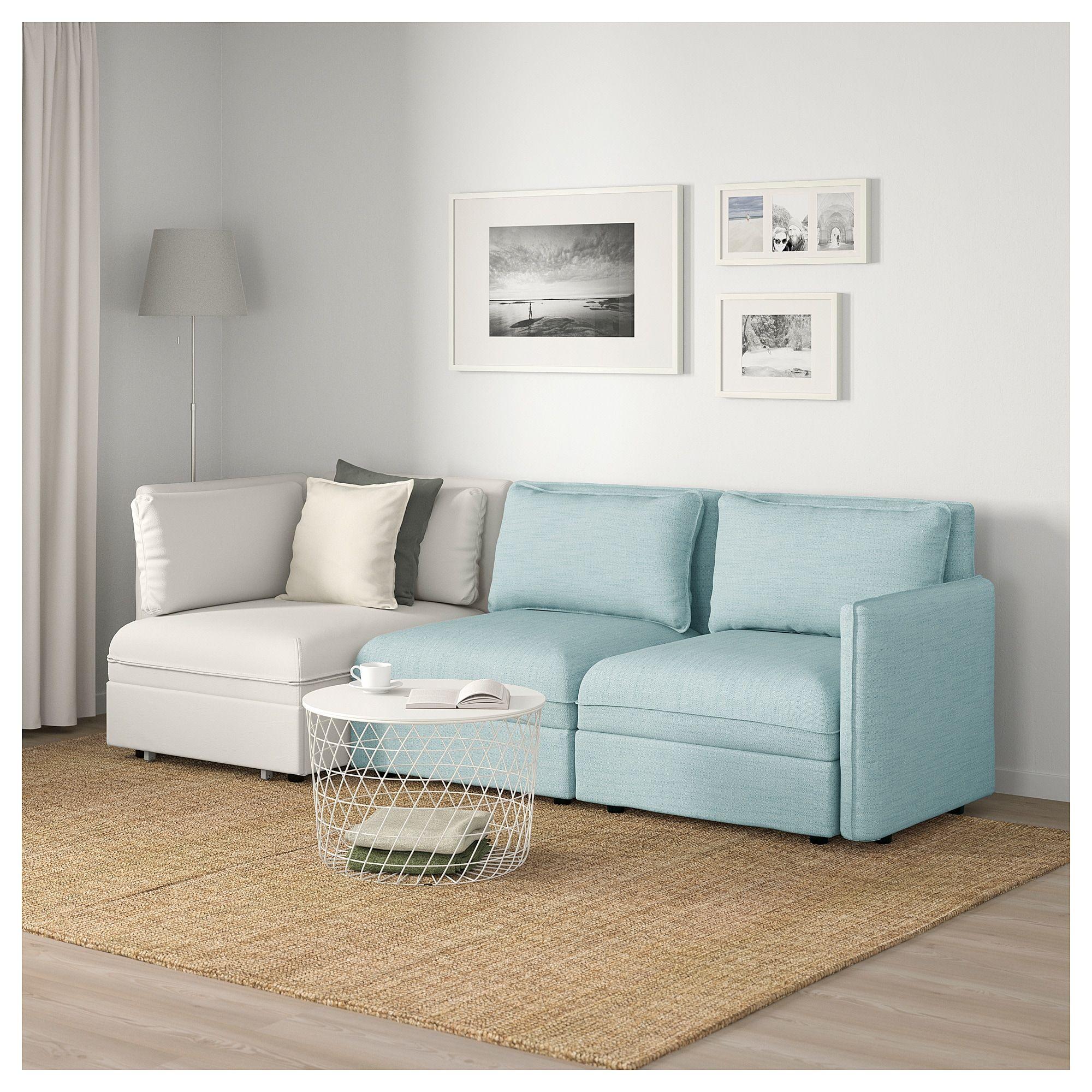 Vallentuna 3 Seat Modular Sleeper Sofa And Storage Hillared Murum Light Blue White Modular Sofa Sofa Sleeper Sofa