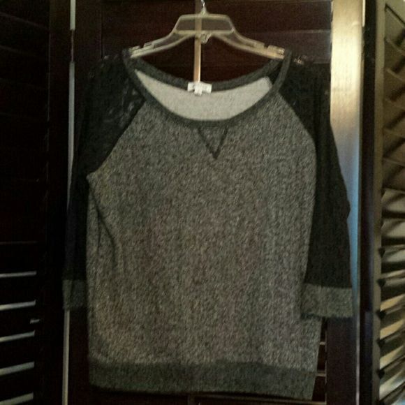 Grey sweatshirt with black lace sleeves Cute and in good condition. Active  Sweaters