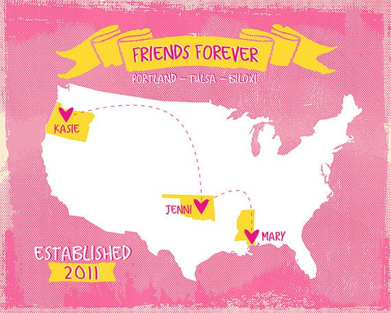 Friends Forever Customized Map Gift For Best Friends