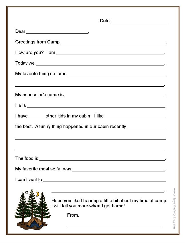 Fill In The Blank Letters To And From Camp Camp Letters