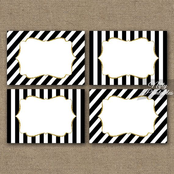 Black And White Striped Food Labels Or Nametags With A