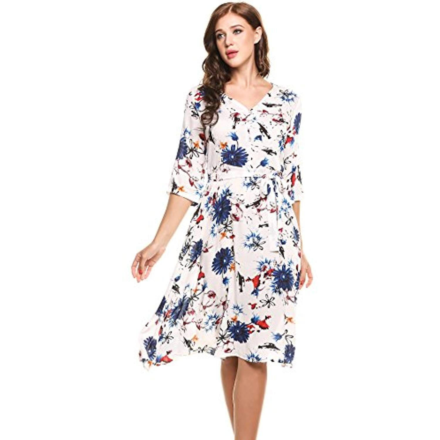 Women S Casual V Neck 3 4 Sleeves Floral And Leaves Print Hawaiian Dress Want Additional Info Printed Casual Dresses Elegant Dresses For Women Womens Dresses [ 1500 x 1500 Pixel ]