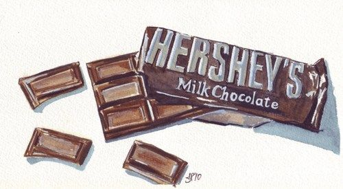 Candy Watercolor Painting, Chocolate Bar Art, Candy Original Watercolor, 4x8 matted to 8x10