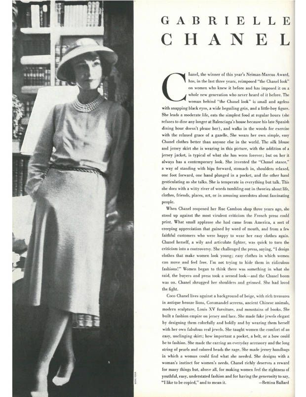 a91af9834ce0 Coco Chanel in the September 1957 issue of Town   Country Magazine.