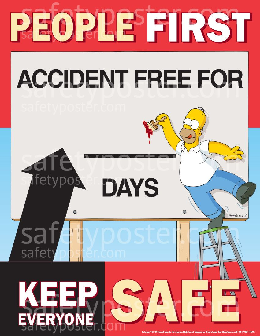 Workplace safety posters - Accident Reporting Safety Posters Simpsons People First Accident Free S1153