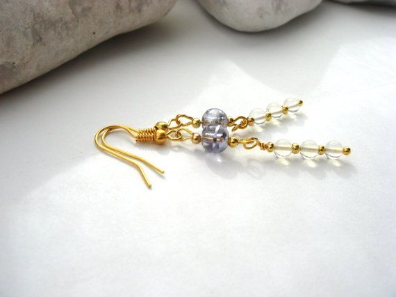 Gold Earrings Lilac glass and Moonstone bead stack by LisaDeluxe, £9.95