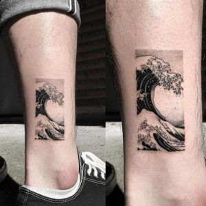 Rectangular confined wave tattoo by Oozy