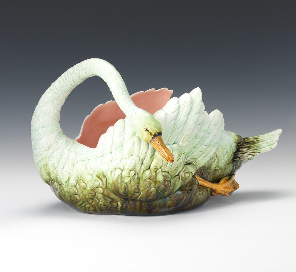 Austrian majolica glazed swan centerpiece majolica