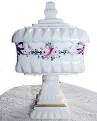 Vintage Milk Glass Bride's Box Pink Wedding Roses-antique,bridal, bride, cake,milkglass, compote,gilt,hand painted